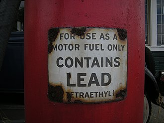 Lead–crime hypothesis - This warning on an old Lynnwood, Washington fuel pump notes how it used to dispense gasoline with tetraethyllead additives.