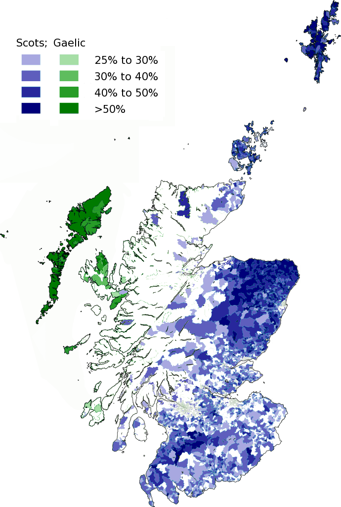 Geographic distribution of native Scottish languages