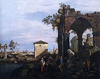 Giovanni Antonio Canal, il Canaletto - Capriccio with Ruins and Porta Portello, Padua - WGA03971.jpg