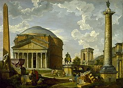 Giovanni Paolo Panini: Fantasy View with the Pantheon and other Monuments of Ancient Rome