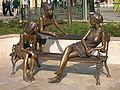 Girls of Miskolc statue, closeup.jpg