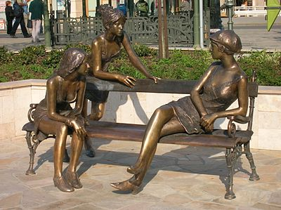 Girls of Miskolc statue, closeup.jpg