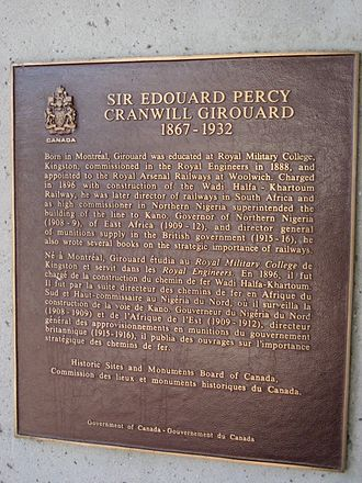 Percy Girouard - Percy Girouard plaque at Royal Military College of Canada