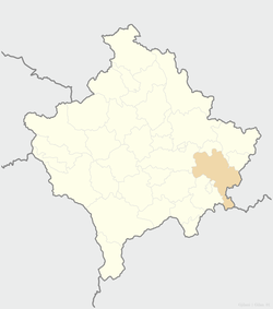 Location of the city of Gjilan within Kosovo