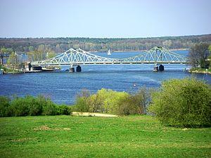 Glienicke Bridge - Glienicke Bridge connecting Potsdam and Berlin, seen from Babelsberg Park