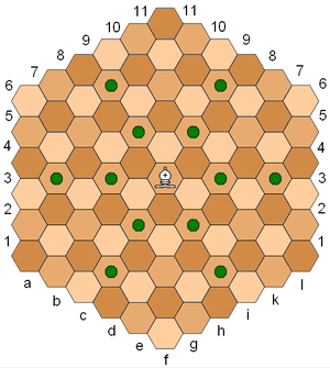 Hex map - A hexagonal chess board, showing the three-colour system and the diagonal moves of a bishop.
