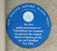 New Zealand Historic Places Trust circular blue plaque at the site of the first performance of God Defend New Zealand