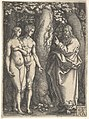 God at right forbidding the nude Adam and Eve at left to eat from the tree of knowledge in center, from 'Adam and Eve' MET DP828529.jpg