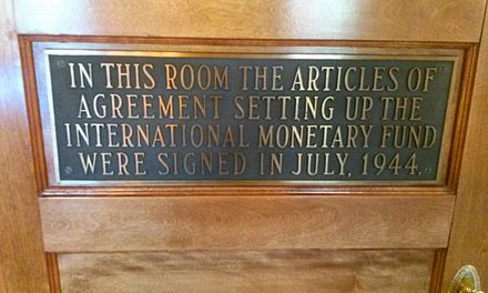 Plaque Commemorating the Formation of the IMF in July 1944 at the Bretton Woods Conference Gold Room Bretton Woods 5.jpg