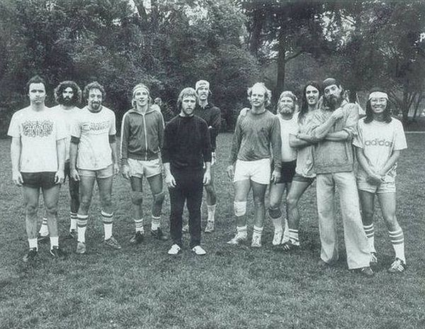 Good Times Ultimate Team. Westerfield (second from the right). Good friend and disc sports promoter Tom Schot (fifth from the right) in the Northern California Ultimate Frisbee League, Santa Cruz, CA. 1978. Good times Ultimate Team Santa Cruz, CA 1977.jpg