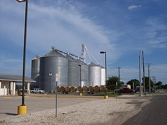 Crawford, Texas - Image: Grain Silos on Main Street Crawford