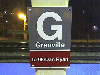 Granville station (CTA) - Station sign on the 95th/Dan Ryan-bound side