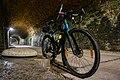 Gravel bike inside Hovelange tunnel.jpg
