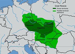 History of Slovakia - Sure and disputed borders of Great Moravia under Svatopluk I (according to modern historians)