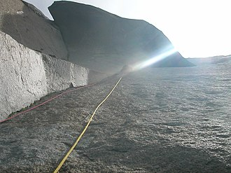 The Nose (El Capitan) - Great Roof as seen from the standard belay stance. With a climber at the end of the lens flare.