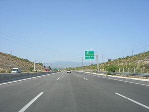 Greek National Road 8a - The road near the Corinth interchange.