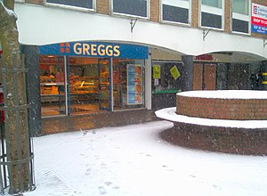 Greggs - Greggs, Carmarthen, during snowfall (2009)