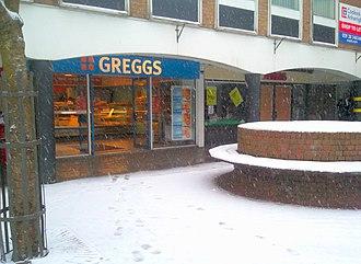 Greggs - Greggs, Carmarthen, during snowfall (2009)