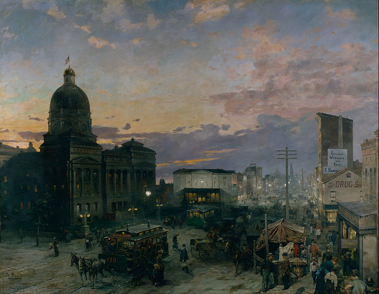 File:Groll, Theodor - Washington Street, Indianapolis at Dusk - Google Art Project.jpg