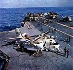 Grumman S2F-1 Tracker of VS-30 on USS Wasp (CVS-18), circa in September 1957.jpg