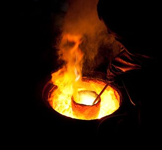 Foundry - Melting metal in a crucible for casting