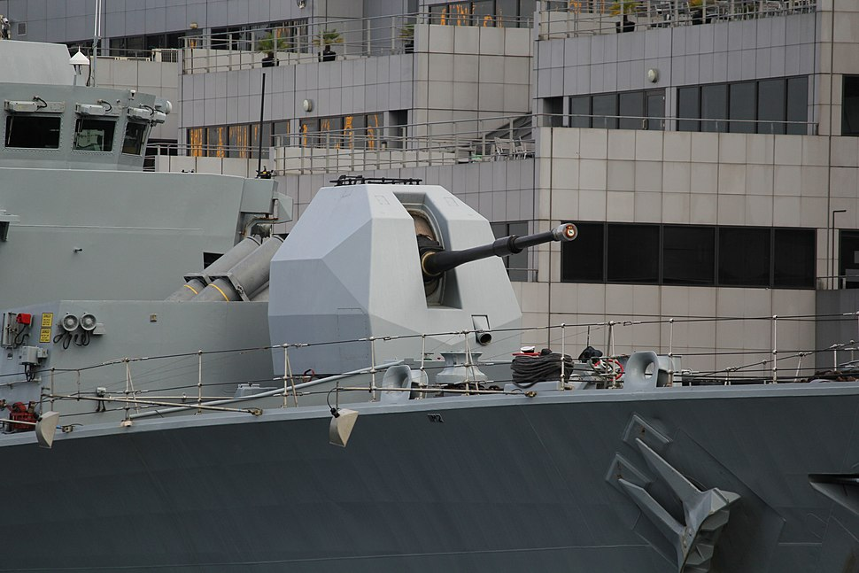HMS Northumberland (F238) at West India South Dock - 4.5 inch Mark 8 naval gun 02
