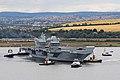 HMS Queen Elizabeth (R08) is pulled out of Rosyth dockyard on 26 June 2017 (45162790).jpg