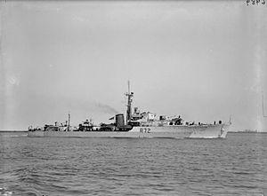 HMS Wizard (R72) - Image: HMS Wizard 1945 IWM FL 21726