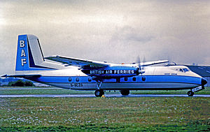 British United Air Ferries - Handley Page Dart Herald of British Air Ferries operating a service from Southend Airport in 1976