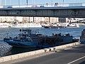 HSP 1509B pontoon and Botond (ship, 1969), Elisabeth Bridge, 2018 Budapest.jpg
