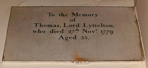 Thomas Lyttelton, 2nd Baron Lyttelton - St John the Baptist Church, Hagley, memorial to Thomas Lyttelton, 2nd Baron Lyttelton (1744–1779)