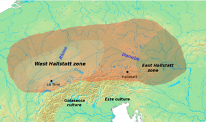 Golasecca culture - Situation of the Golasecca culture to the south of the Hallstatt culture.
