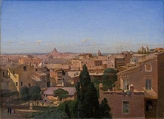Hans Jørgen Hammer - Image: Hammer Et prospekt af Rom set fra kunstnerens bolig 1858