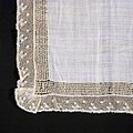 Handkerchief, embroidered initials, 'H.S.' -- White applique on linen batiste with needlepoint fillings; embroidered initials. Made in Germany or Switzerland, 19th century. LACMA 60.41.108.jpg