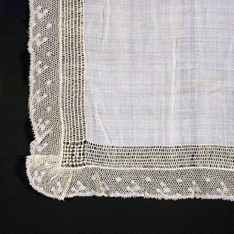 Batiste - Detail of a linen batiste handkerchief, 19th century