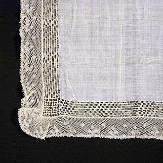 Batiste - Detail of a linen batiste handkerchief, 19th century