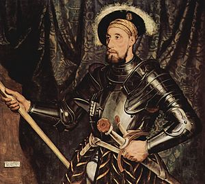 Greenwich armour - Sir Nicholas Carew wearing an early Greenwich armour of 1532–33.