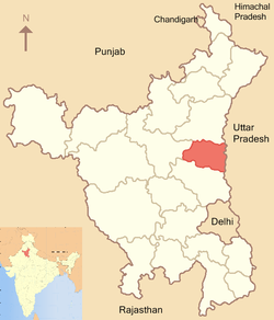 Location of Panipat district in Haryana