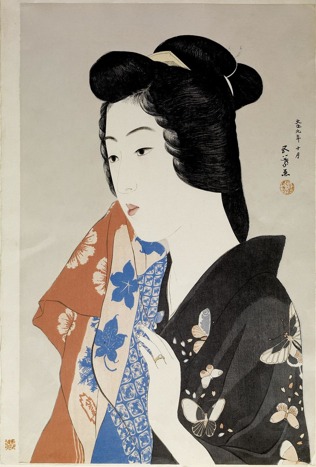 Hashiguchi Goyo - Geisha Hisae with a Towel
