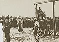 Havoc of War - Atrocities and Deaths - Austrian Atrocities. Hanging Russian farmer in accordance with orders of commander. Similar atrocities were committed in Poland and Bosnia - NARA - 31483216 (cropped).jpg
