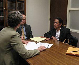 Sandia Pueblo - Sandia Pueblo Governor Victor Montoya (right) meeting with Congresswoman Heather Wilson