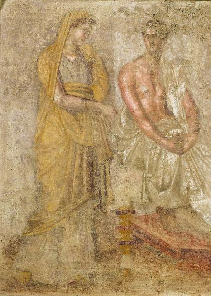Hellenistic terracotta funerary wall painting