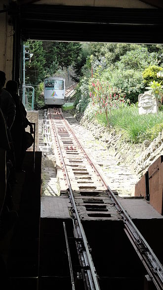 Trams in Bogotá - Funicular car approaching the lower station; January 25, 2011