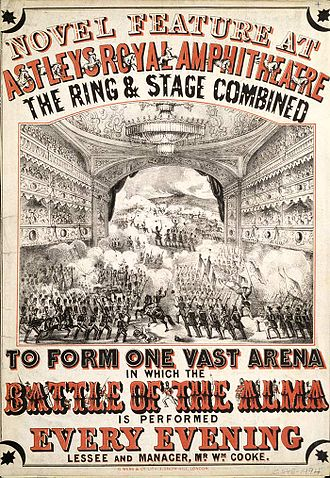 Hippodrama - 1854 advertisement for the reenactment of the Battle of the Alma at Astley's Amphitheatre, London
