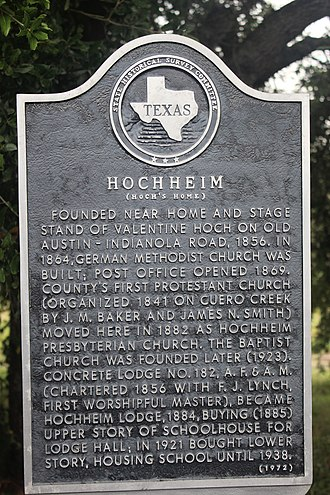Hochheim, Texas - Historical marker