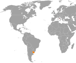 Map indicating locations of Holy See and Uruguay