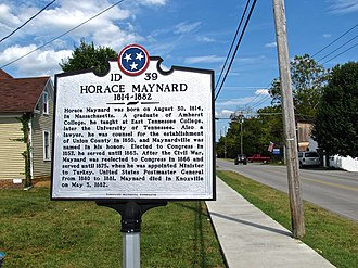 Horace Maynard - Tennessee Historical Commission marker in Maynardville