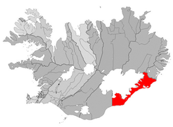 Location of the Municipality of Hornafjörður