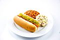 Hot dog with baked beans and potato salad.jpg
