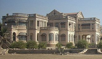 Porbandar State - Hizoor Palace was built by last ruler of Princely State of Probandar, Rana Natwarsinhji, in early 20th century, stands near sear the shore at the Marine Drive in the city.